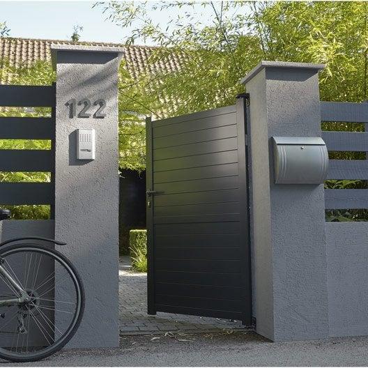 portillon battant primo jena x cm gris anthracite leroy merlin. Black Bedroom Furniture Sets. Home Design Ideas