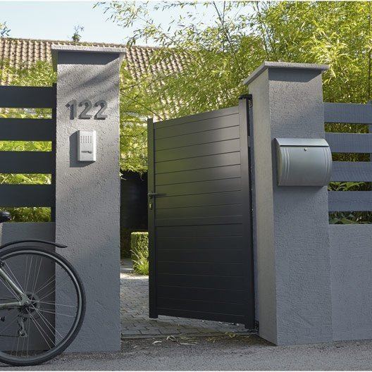 Portillon battant en aluminium gris anthracite jena 100x170cm for Portillon en alu