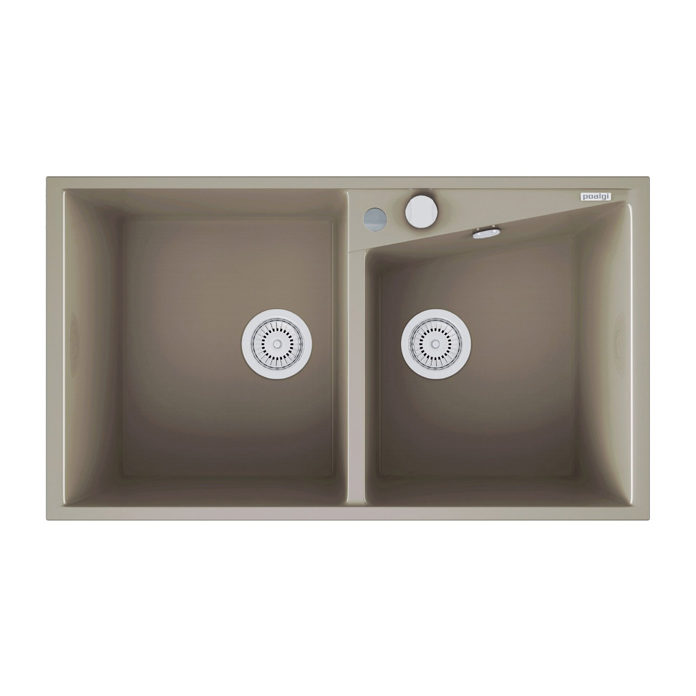 evier encastrer quartz et r sine gris kuma 2 bacs. Black Bedroom Furniture Sets. Home Design Ideas