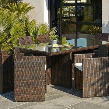 Salon de jardin Encastrable résine tressée marron 1 table + 8 fauteuils