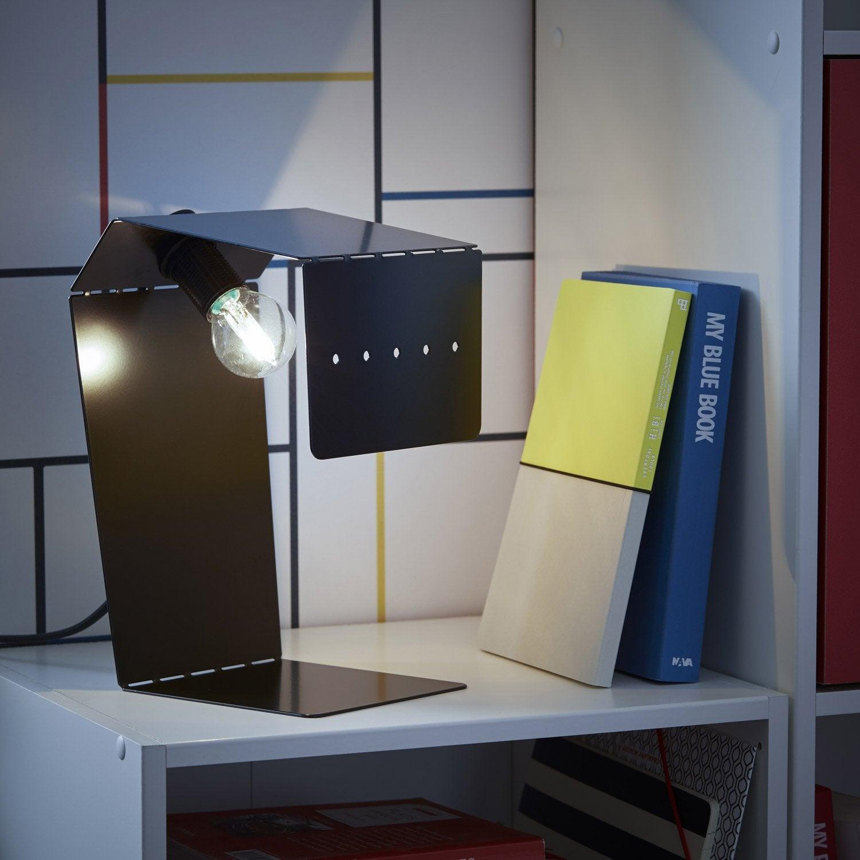 Pied de lampe Teruki, métal noir-noir n°0, 61.9 cm, INSPIRE