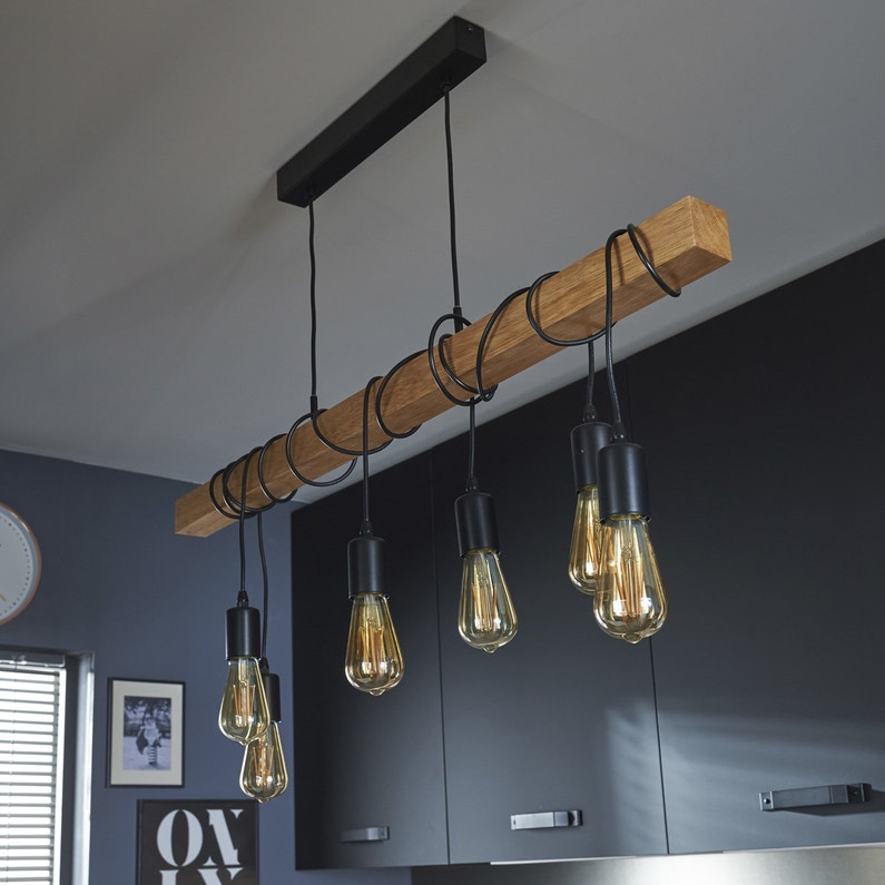 Une suspension au style industrielle leroy merlin for Lustre de cuisine moderne