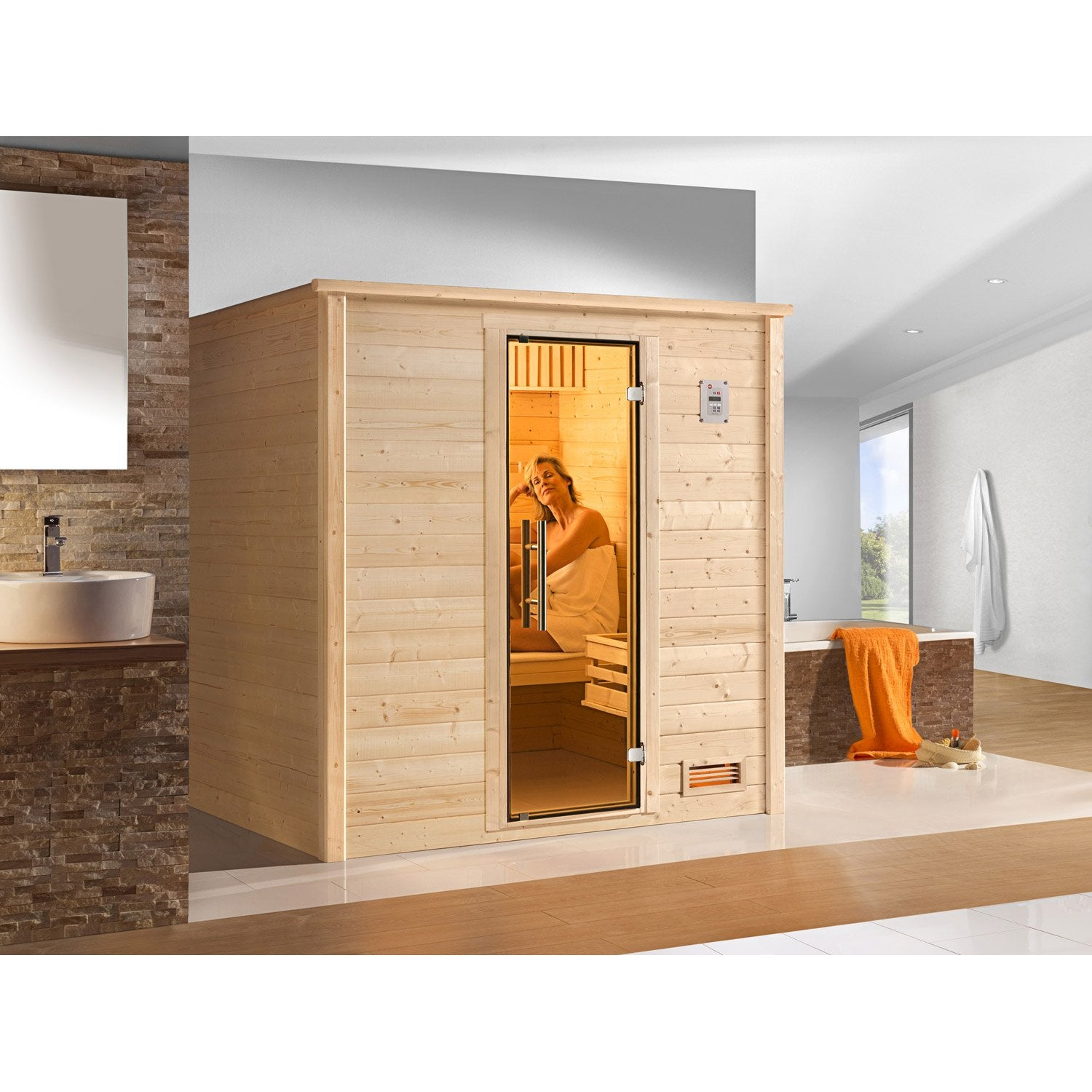 sauna traditionnel 2 places mod le bergen 1 os excl weka. Black Bedroom Furniture Sets. Home Design Ideas