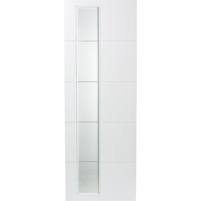 Porte Coulissante Laquee Blanc Alaska Artens H 204 X L 93 Cm