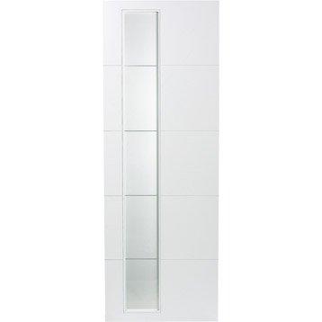 Porte coulissante revêtu blanc Alaska ARTENS, 204 x 93 cm