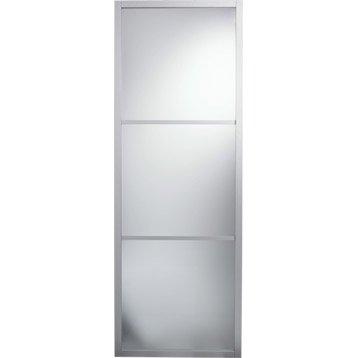 Porte coulissante aluminium Aspen gris ARTENS, H.204 x l.83 cm