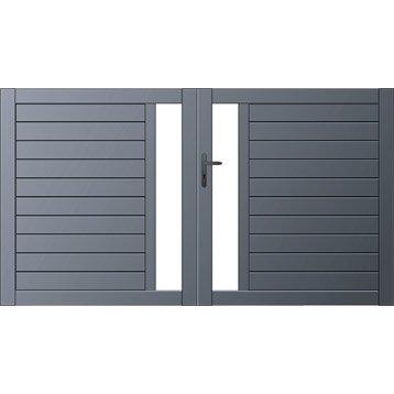 portail battant mix it naterial l 300 x 170cm gris anthracite. Black Bedroom Furniture Sets. Home Design Ideas