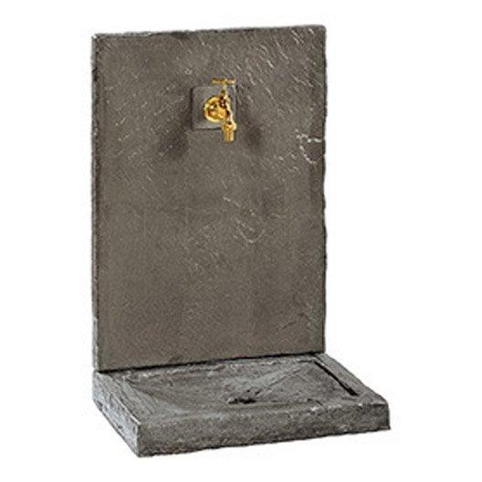 Fontaine grand mod le en pierre reconstitu e noir ardois e for Robinet jardin leroy merlin