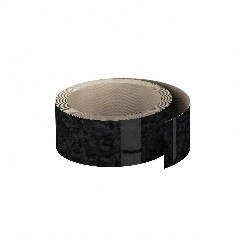 Chant Plan Travail Stratifi Effet Marbre Noir Brillant L 500 L 4 5