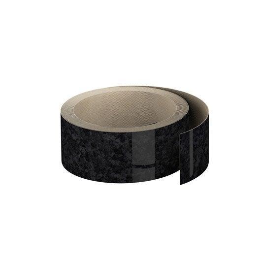 Chant plan travail stratifi effet marbre noir brillant l ep leroy merlin for Plan de travail marbre noir brillant