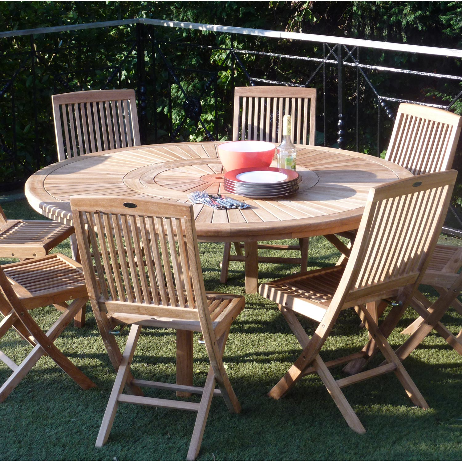 Salon de jardin orion naturel 8 personnes leroy merlin Table ronde jardin bois