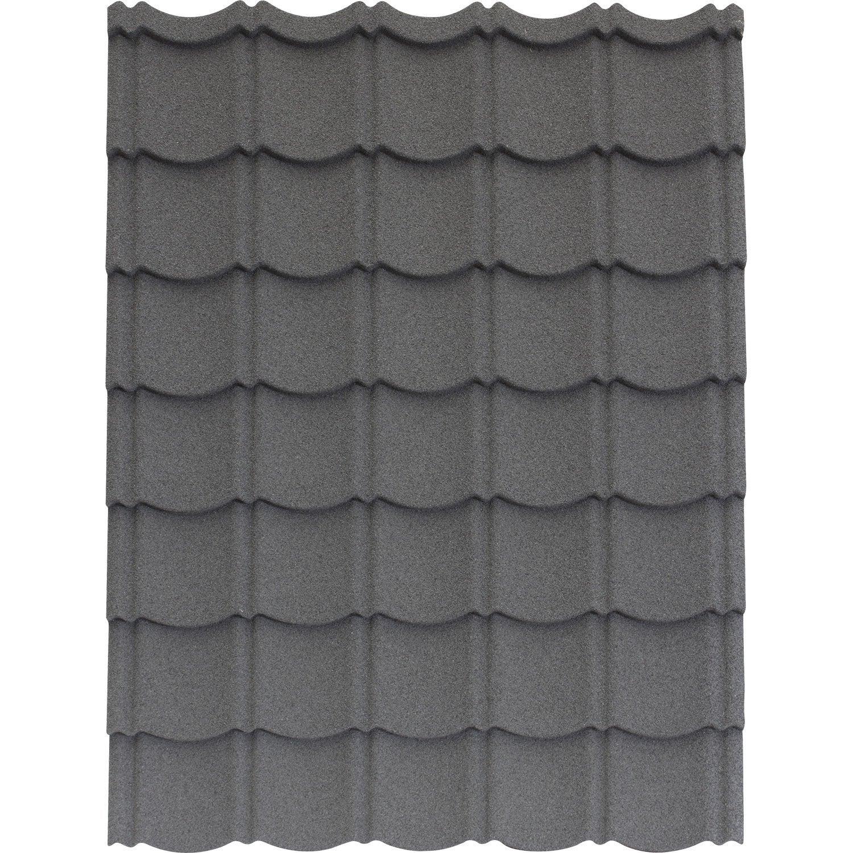 plaque imitation tuile acier galvanis anthracite iko easytuile l x l leroy merlin. Black Bedroom Furniture Sets. Home Design Ideas