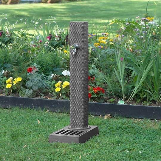 Fontaine de jardin avec vasque en fonte Dommartin Pixel gris 103cm ...