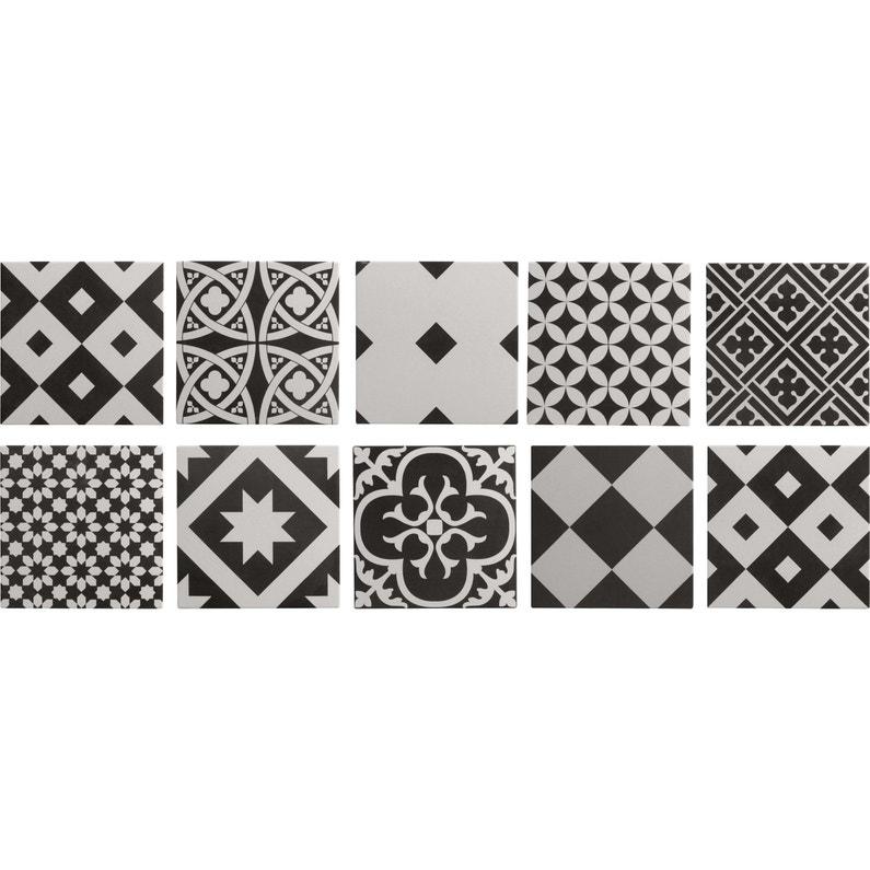 Carrelage Sol Et Mur Noir Et Blanc Effet Ciment Gatsby L X L - Carrelage pas cher et tapis motif aztèque