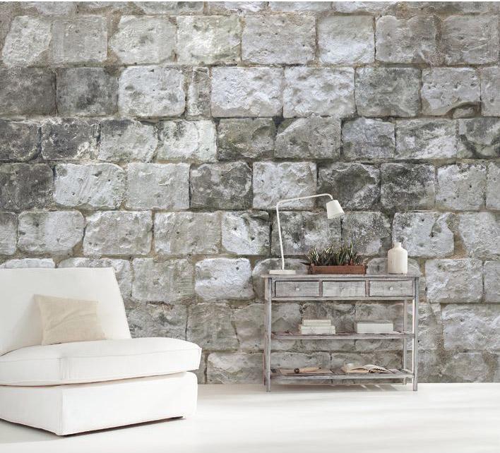 Papier Peint Intissé Panoramique Material Mur De Pierre Gris