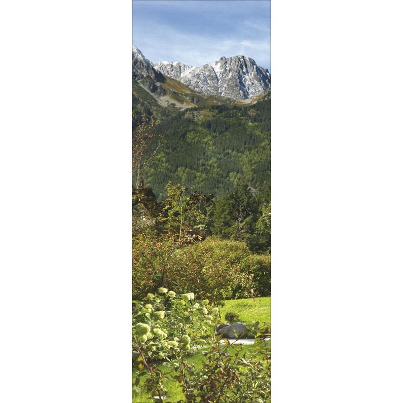 Sticker Trompe l\'œil jardin & montagne 60 cm x 175 cm
