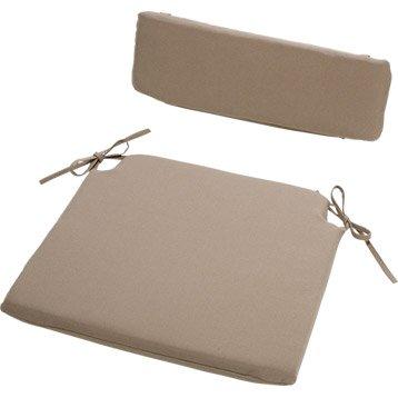 Coussin d'assise et dossier de chaise ou de fauteuil taupe Asti GROSFILLEX