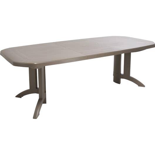 Table de jardin de repas GROSFILLEX Véga rectangulaire taupe, 10 ...