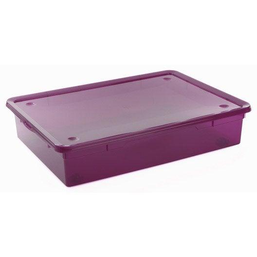 dessous de lit cbox mega en plastique l56 x p77 5 x h17 cm 55 l leroy merlin. Black Bedroom Furniture Sets. Home Design Ideas