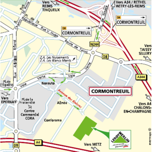 Plan d'accès au magasin Leroy Merlin de Compiègne (jaux)