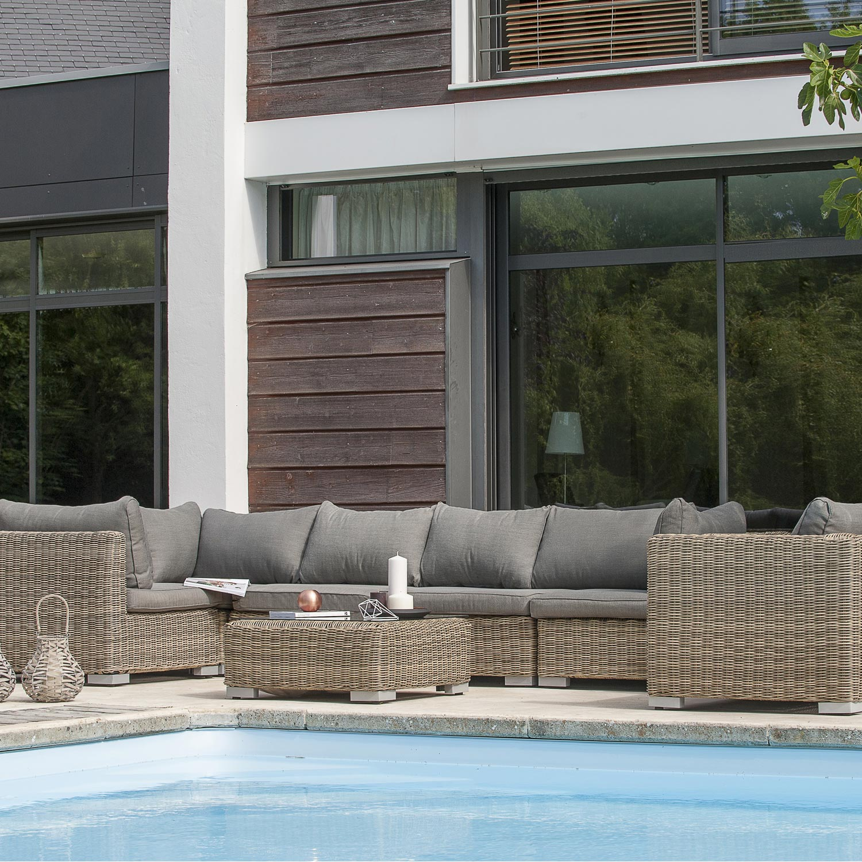 Salon jardin Montmartre 1 fauteuil,3modules d\'angle,2 modules ...