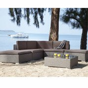 Salon bas de jardin Corte résine tressée gris table+ canapé+ 2 fauteuils