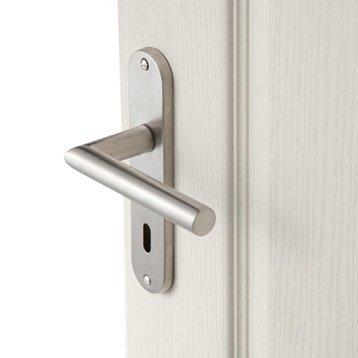 Lot de 2 poignées de porte Sara trou de clé, acier inoxydable satiné, 165 mm