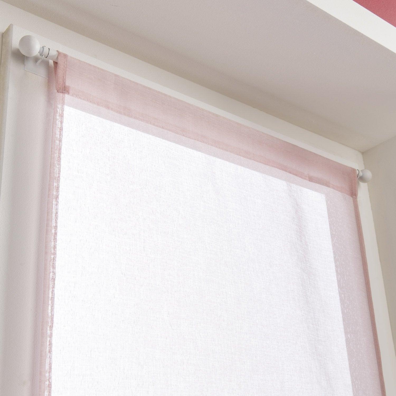 paire de vitrages tamisant petite hauteur leo rose blush n 5 x cm leroy merlin. Black Bedroom Furniture Sets. Home Design Ideas