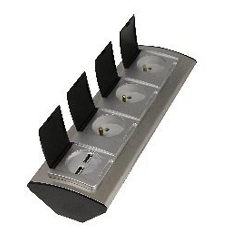 Multiprise cbler prises aluminium lexman with reglette - Reglette salle de bain avec prise ...
