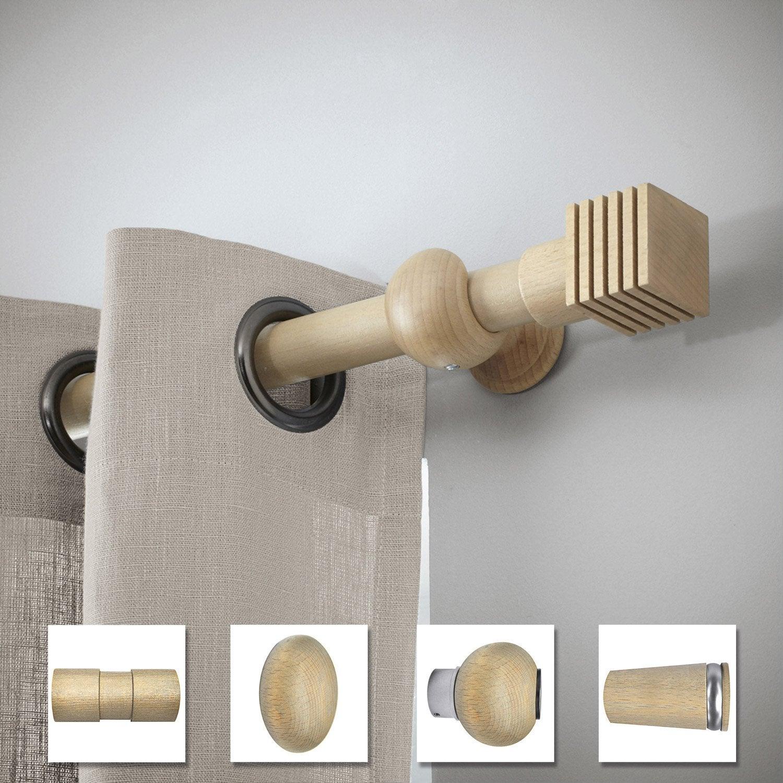 tringle rideau design ch ne verni 200 cm inspire leroy merlin. Black Bedroom Furniture Sets. Home Design Ideas