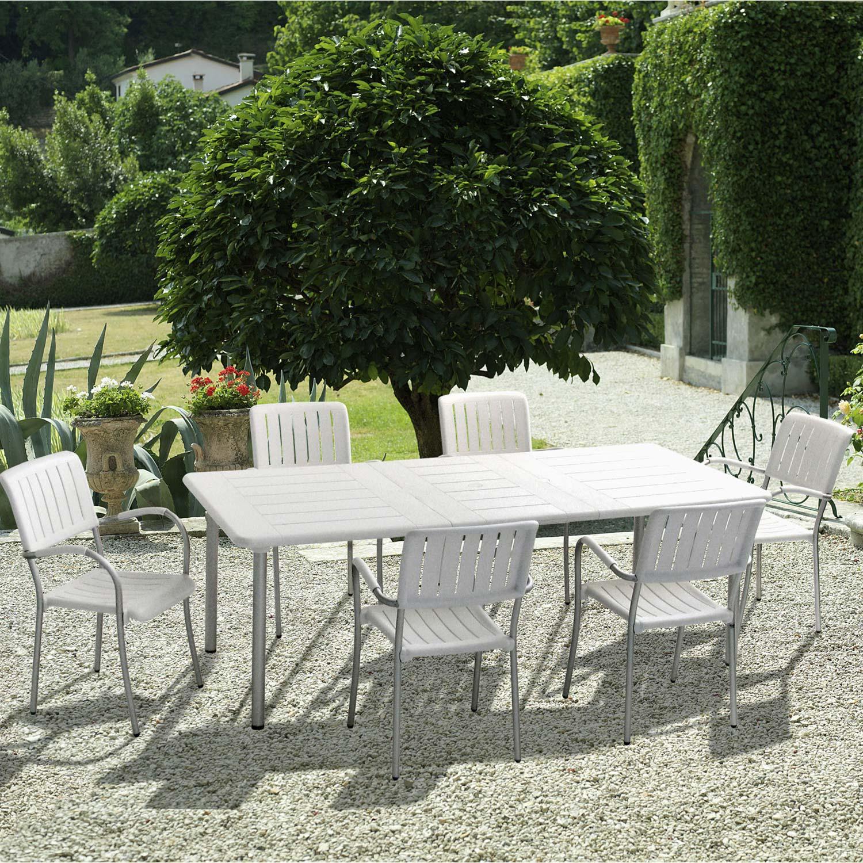 Salon de jardin Maestrale résine (plastique) blanc, 6 personnes ...