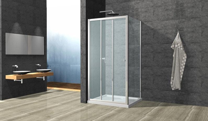 Un grand espace salle de bains avec meuble double vasque a for Porte de douche coulissante avec meuble salle de bain double vasque noir