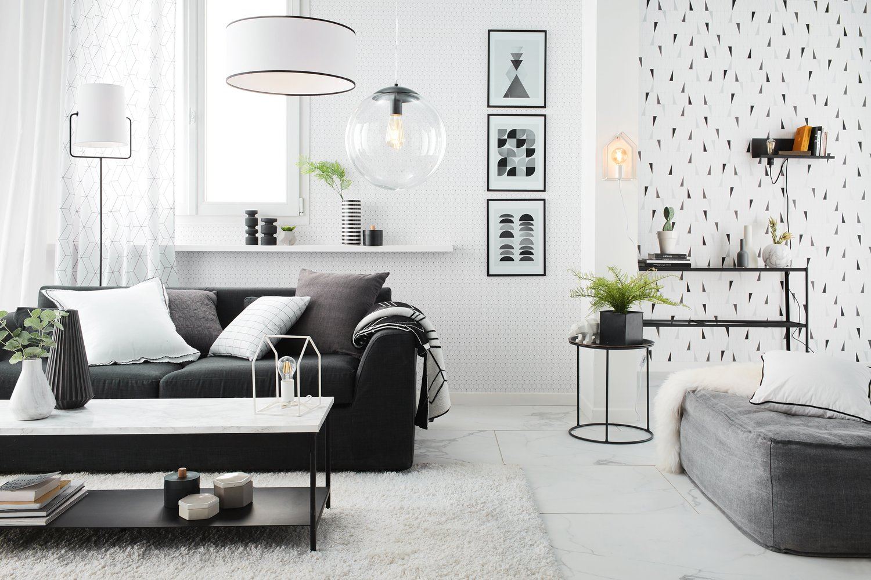 un style design dans le salon avec un m lange de noir et de blanc leroy merlin. Black Bedroom Furniture Sets. Home Design Ideas