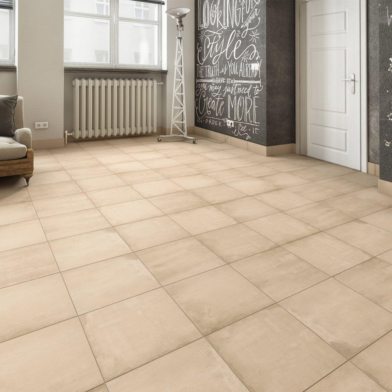Carrelage sol et mur forte effet terre cuite beige Cotto l.45 x L.45 cm ARTENS
