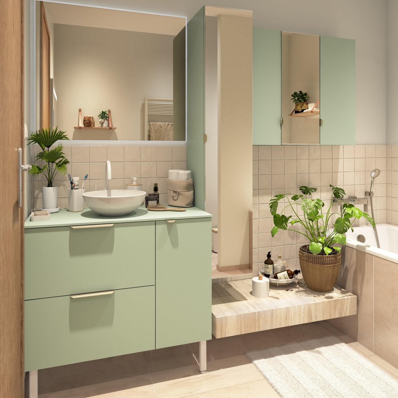 Salle D Eau Blanche Et Bois meuble de salle de bains vert d'eau avec les poignées dorées