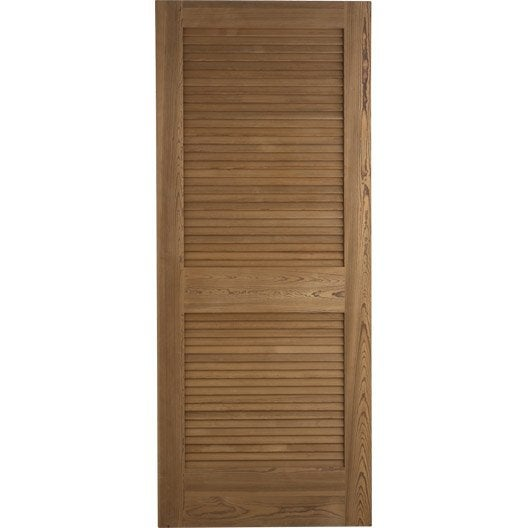 Porte coulissante pin plaqu marron java artens 204 x 83 cm leroy merlin for Porte placard persienne