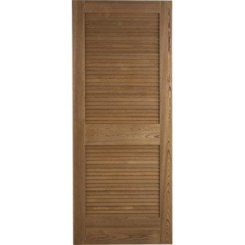 Porte coulissante pin plaqué marron Java ARTENS, 204 x 83 cm