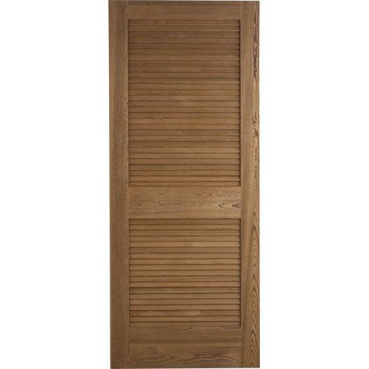 Porte coulissante pin plaqué marron Java ARTENS, 204 x 73 cm | Leroy