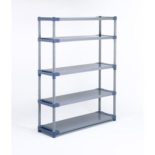 Etag re r sine grosfillex 5 tablettes gris bleu l140xh175xp40 cm leroy merlin - Armoire resine grosfillex ...
