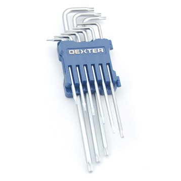 Jeu de 9 clés mâle torx longue, 3, 4 et 5 mm DEXTER