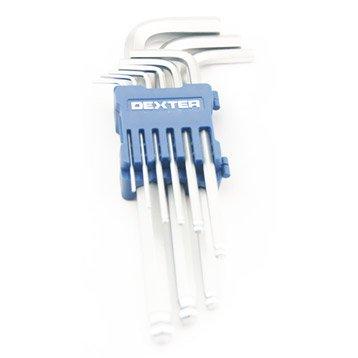 Jeu de 9 clés 6 pans longue, 1.5, 2, 2.5, 3, 4, 5, 6, 8 et 10 mm DEXTER