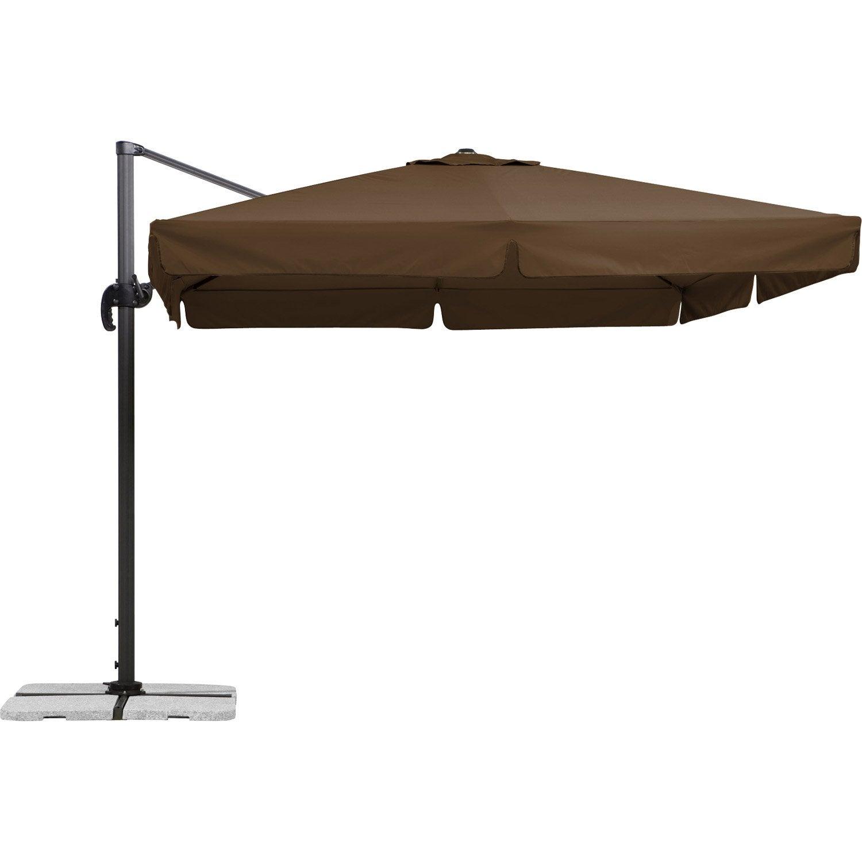 Parasol déporté Rhodos marron carré, L.300 x l.300 cm   Leroy Merlin