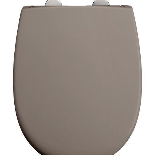 Abattant frein de chute d clipsable taupe plastique thermodur dubourgel push - Abattant wc frein de chute leroy merlin ...