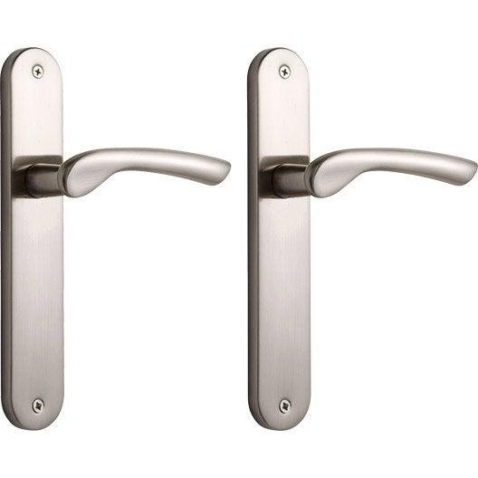 Poign e de porte corail sans trou aluminium mat entraxe for La poignee de la porte