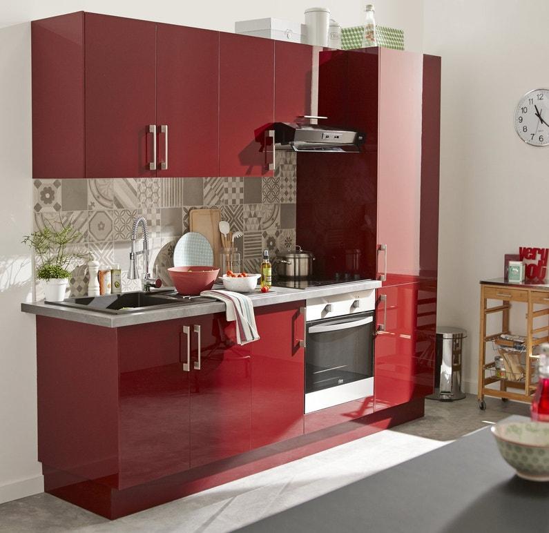 Cuisine rouge pour petit espace leroy merlin for Elements cuisine petit espace