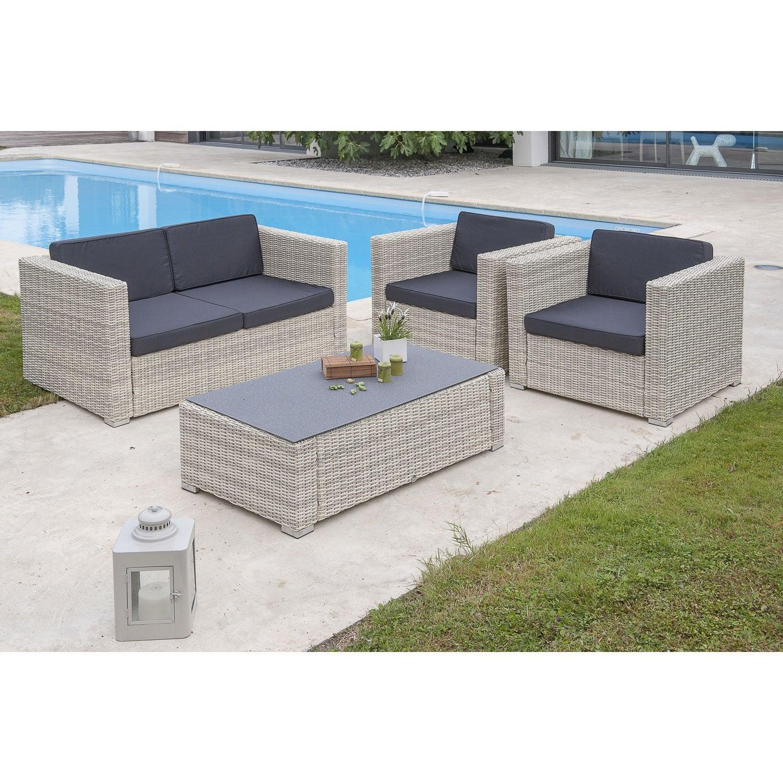 Salon jardin Oceane lunch blanc, 1 banquette 2places, 2 fauteuils, 1 ...