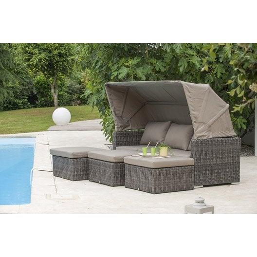 Salon bas de jardin caleche r sine tress e gris anthracite table 3 fauteuil - Salon de jardin resine ronde tressee ...