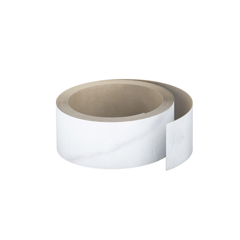 Poser Un Chant Plan De Travail chant de plan de travail stratifié effet marbre blanc brillant l.500,  ep.0.6 mm