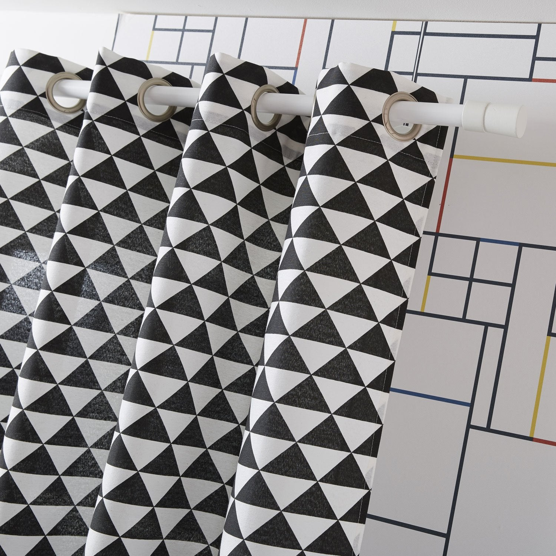 Rideau tamisant, Geometrico, blanc/noir, l.135 x H.250 cm | Leroy Merlin