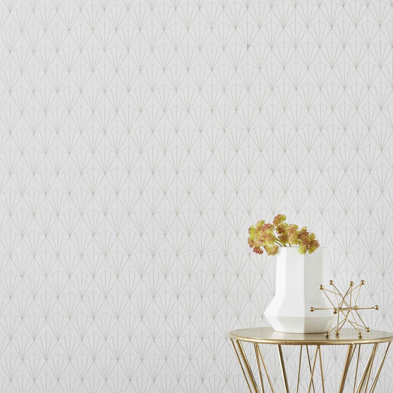 Papier peint vinyle Motif Geo blanc/or